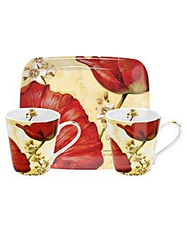 Pimpernel Poppy Mug & Tray Set