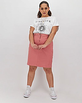 Cotton Rich Knee Length Chino Skirt