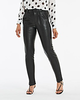Faux Leather Tapered Leg Trousers Regular