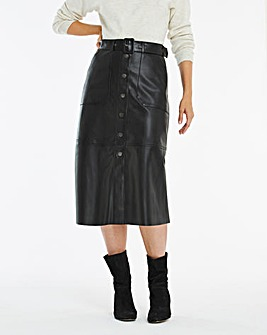 Faux Leather Belted Midi Skirt