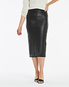 PU Pull On Midi Pencil Skirt