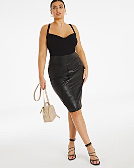 Faux Leather PU Pull On Pencil Skirt