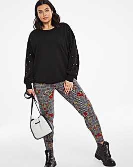 Floral Check Print Jersey Leggings Regular