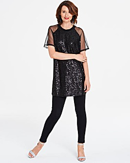 Black Sequin Front Mesh Sleeve Top