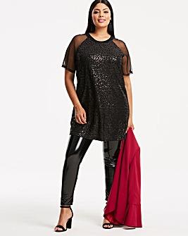 Black Sequin Front Mesh Sleeve Top