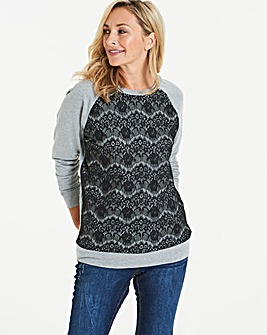 Grey Marl/ Black Lace Front Sweatshirt