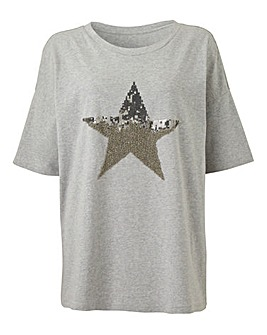 Grey Marl Sequin Star Placement T-Shirt