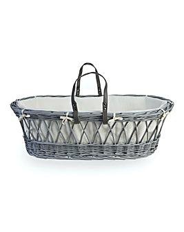 Clair De Lune Baby Love Cotton Candy Grey Wicker Moses Basket