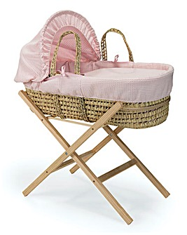 Clair De Lune Waffle Palm Moses Basket with Natural Folding Stand