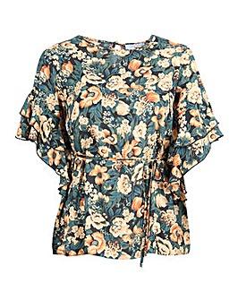 Lovedrobe GB Floral Ruffle Sleeve Top