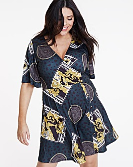 Chain Print Skater Wrap Dress