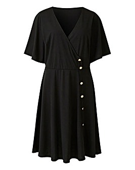 Black Button Through Wrap Skater Dress