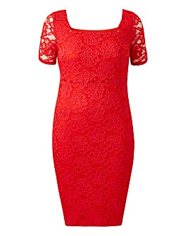 Red Square Neck Lace Dress
