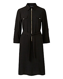 Black Crepe Shirt Dress
