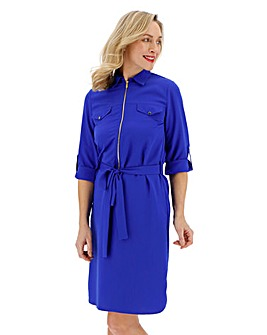 Cobalt Crepe Shirt Dress