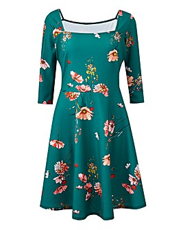 Green Floral Square Neck Skater Dress