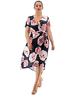 Navy Floral Dipped Back Wrap Dress