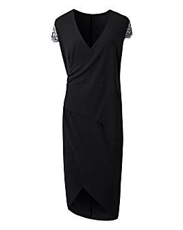 Black Lace Sleeve Wrap Dress