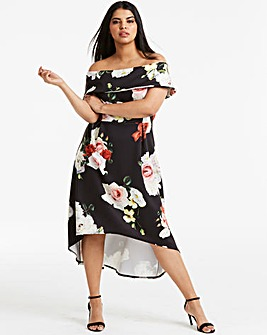 Floral Bardot Prom Dress