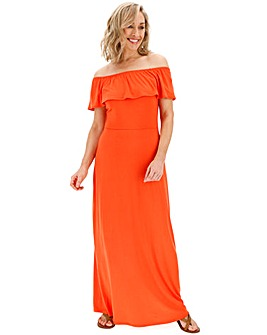 Deep Orange Bardot Maxi Dress