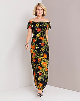b0c3f1e3b38 Floral Print Bardot Maxi Dress