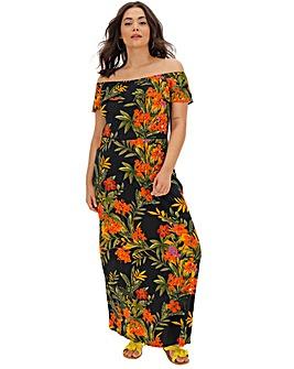 Floral Print Bardot Maxi Dress