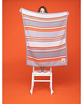 Cosatto Knitted Stripe Blanket Grey & Orange