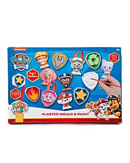Paw Patrol Plaster, Mould, Paint Figures And Accessories Set