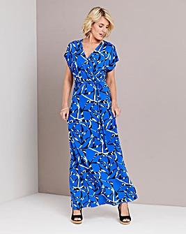 Cobalt Print Wrap Front Maxi Dress