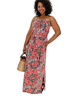 Pink Animal Bandeau Maxi Dress