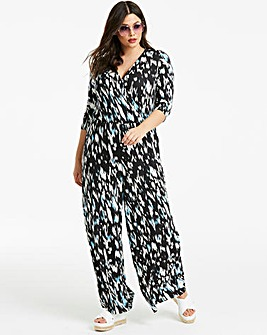 Blue Animal Pint Wrap Jumpsuit