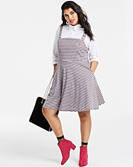 Pink Check Pinafore Dress