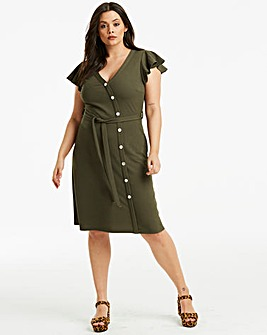 Khaki Button Through Midi Dress