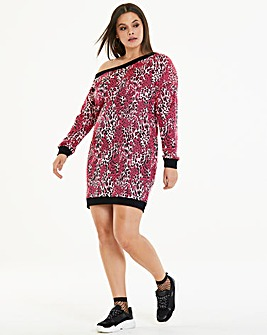 Pink Leopard Sweater Dress
