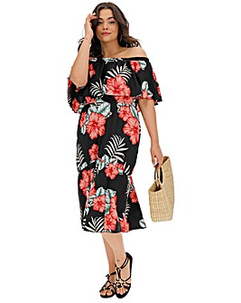 0871c176dd Printed Bardot Midi Dress