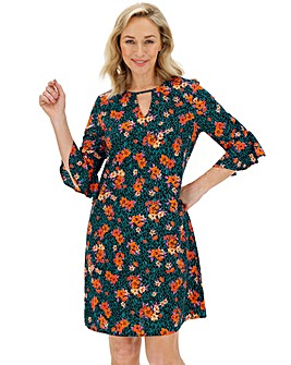 Floral Ruched Sleeve Shift Dress