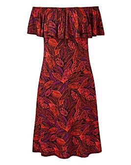 Red Leaf Print Frill Bardot Dress