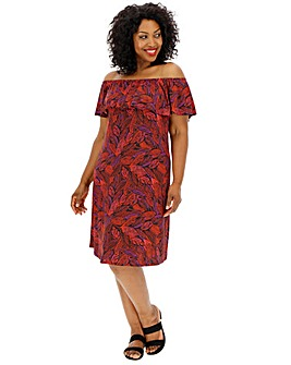 Red Leaf Print Frill Bardot Dress