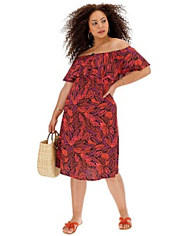 d8907ff1fd Red Leaf Print Frill Bardot Dress