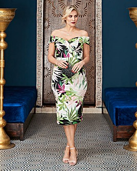Tropical Print Bardot Scuba Dress