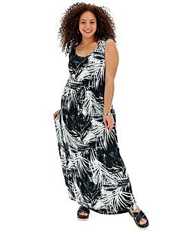 Palm Print Vest Maxi Dress