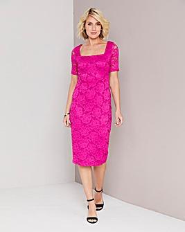 Magenta Square Neck Lace Dress