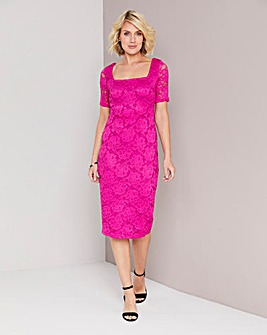 ee3e1ffb25 Magenta Square Neck Lace Dress