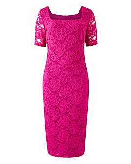 Magenta Square Neck Lace Dress