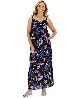 Bright Floral Layered Maxi Dress