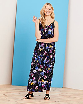 Bright Floral Layered Maxi Dress