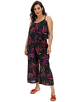 Neon Palm Print Layered Culotte Jumpsuit