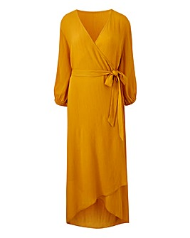 Saffron Crinkle Wrap Dress