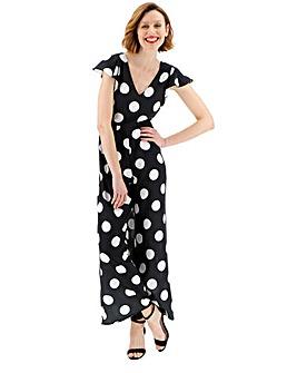 Polka Dot Print Ruffle Sleeve Jumpsuit