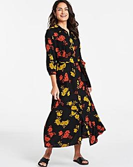 Floral Print Long Line Shirt Dress